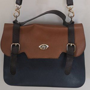 Satchel bag - Tan & Dark Blue
